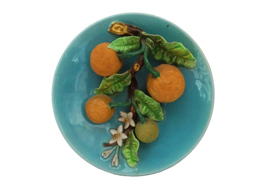 Antique French Menton Lemon Plate, Majolica Palissy Fruit, Trompe L'Oeil Wall Decor