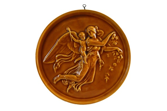 French Pottery Angel and Cherub Plaque, Ceramic Bas Relief Wall Hanging Decor