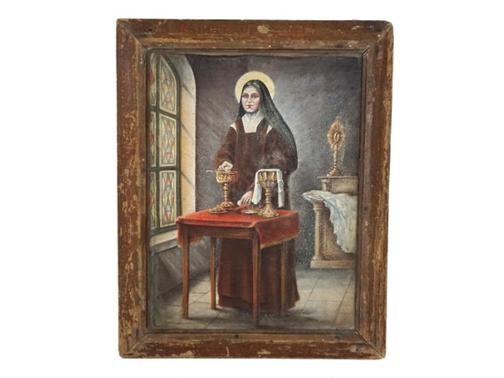 Saint Therese of Lisieux Portrait Painting, Antique French Religious Art