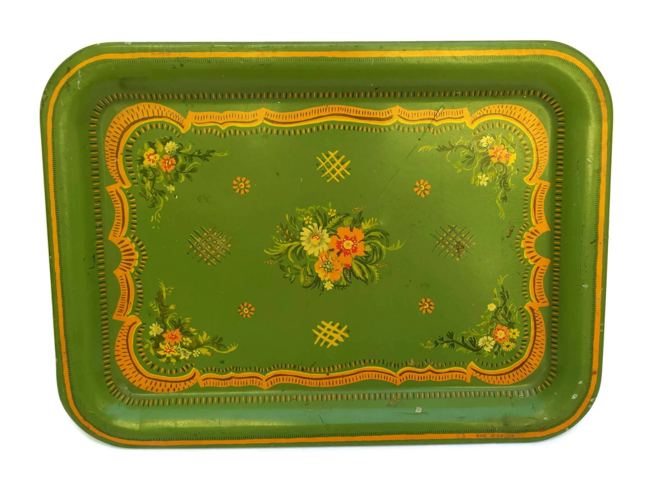 Vintage Swedish Folk Tole Serving Tray Green Boho Drinks Tray