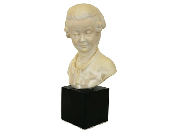Vintage Young Mozart Composer Bust, Classical Music Head Statue