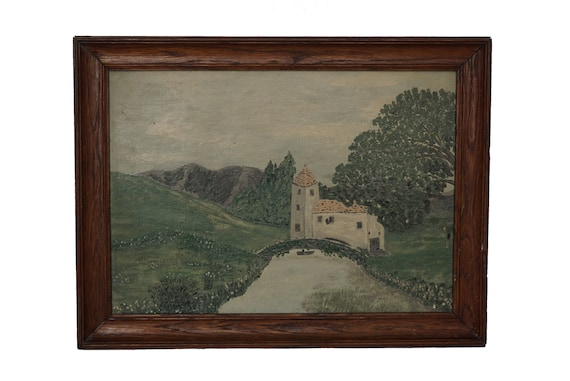 French Church Painting in Country Landscape with Bridge and Trees, Rustic Wall Art