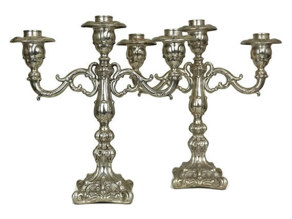 Camusso Sterling Silver Candelabra Pair