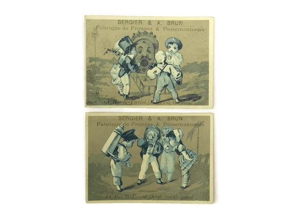 French Trade Cards with Advertising Prints, Victorian Trade Cards with Children, Bergier and Bruin Trade Cards
