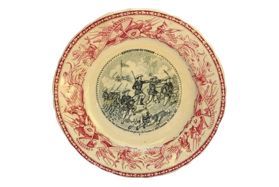Antique Military Transferware Faience Plate by Vieillard Bordeaux, French Indochina History
