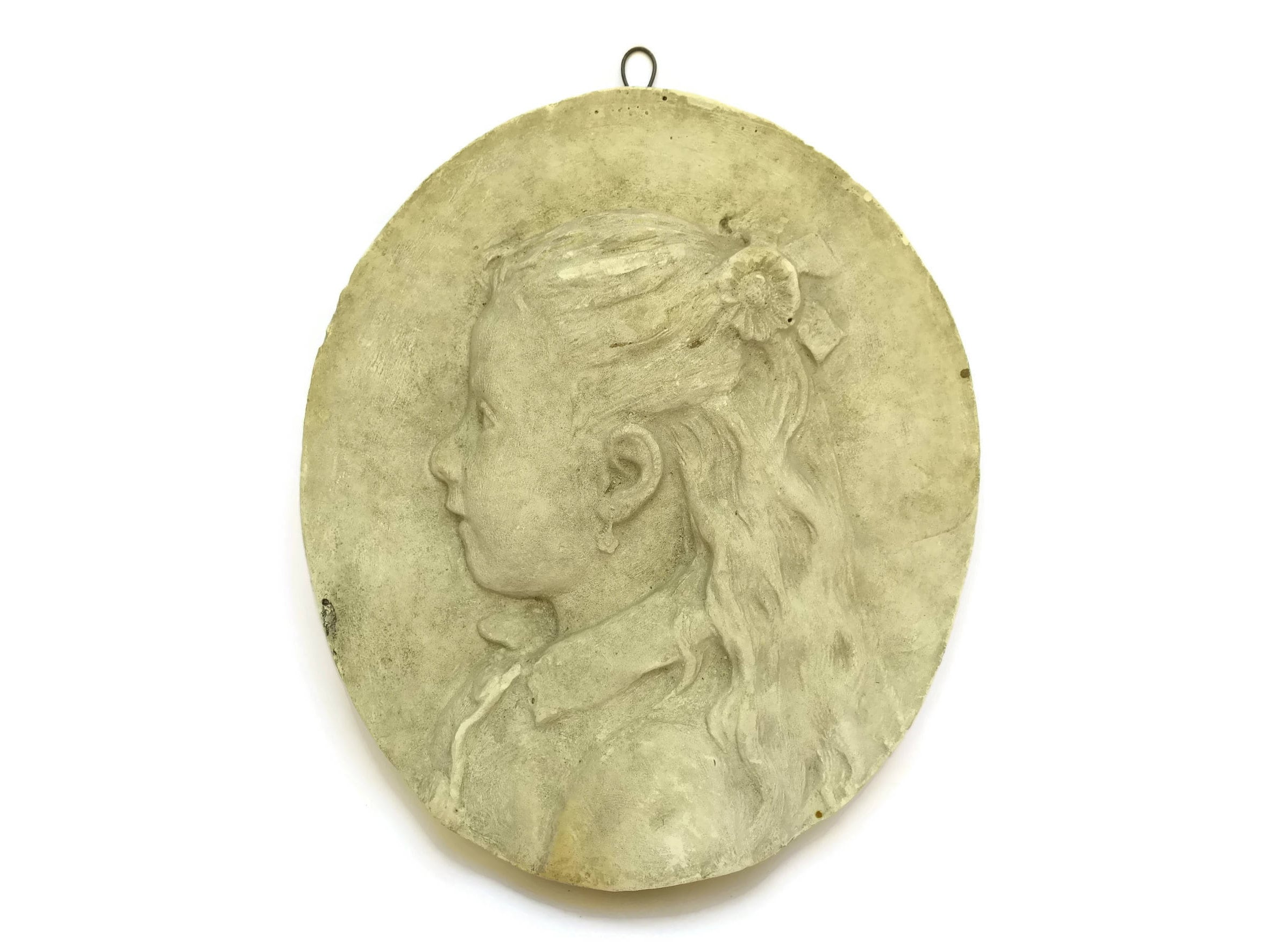 1800\'s French Antique Girl Portrait Wall Hanging Plaque. Victorian ...