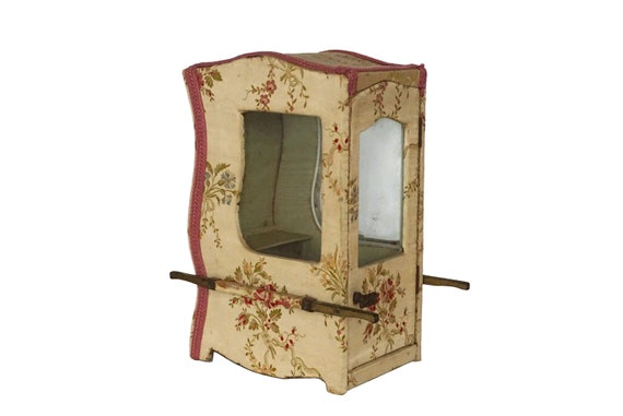 Antique French Miniature Sedan Chair Jewelry Box and Display Cabinet