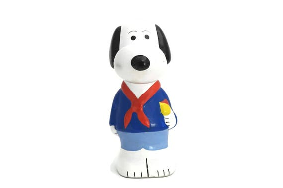 Vintage Snoopy Scout Figurine Money Box, Gift for Scout, Ceramic Charlie Brown Collectible