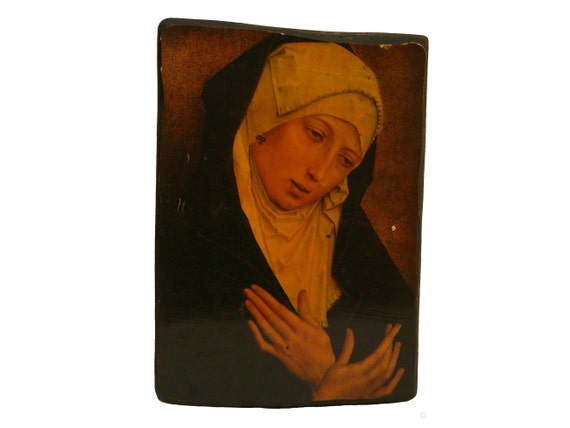 Our Lady Of Sorrows Art Print Wall Hanging, Vintage French Virgin Mary Portrait, Christian Saint Marian Art