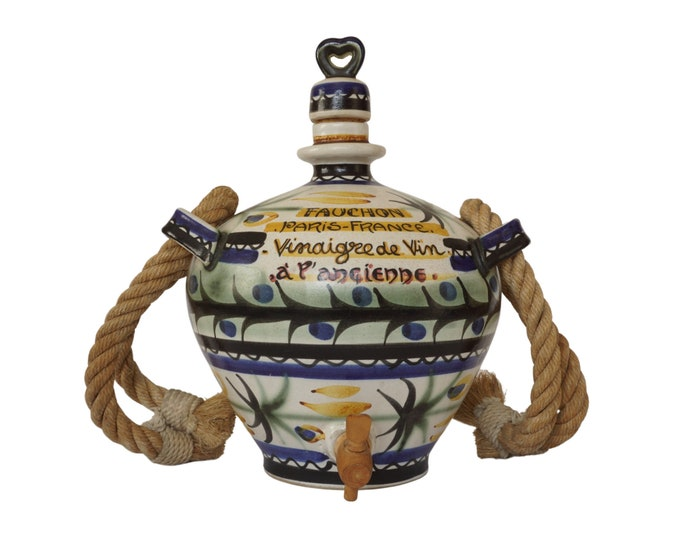 Keraluc Quimper Pottery Vinegar Jug with Hand Painted Advertising for Fauchon Paris, Rustic French Kitchen Decor