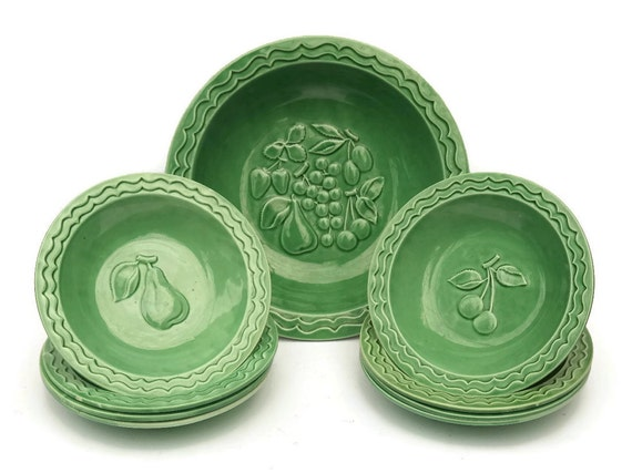 French Art Deco Ceramic Fruit Bowl Set. Green Glazed Pottery Bowls with Cherries and Pears. Stamped J Pobery 46.