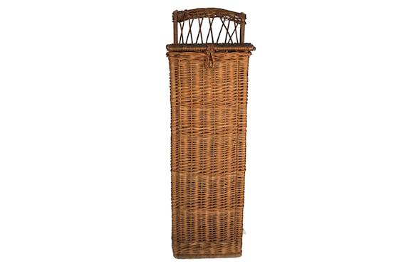 French Baguette Bread Basket, Tall Rustic Wicker Hamper
