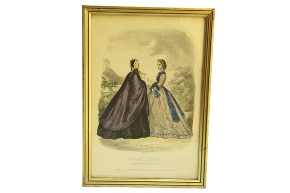 Antique Victorian Fashion Illustration Engraving.