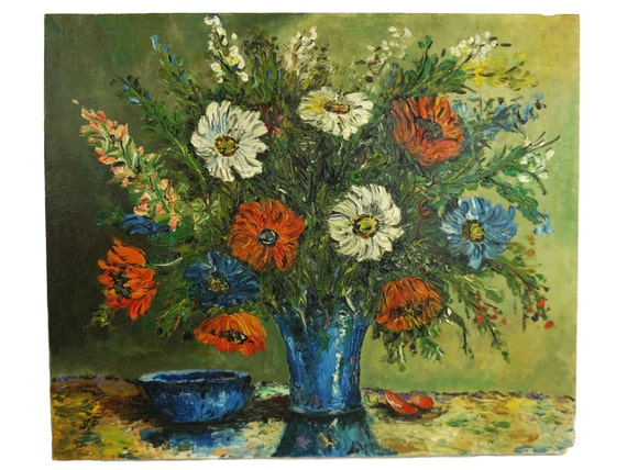 Vintage Daisy Flower Bouquet Painting, Floral Oil Still Life, French Original Signed Wall Art