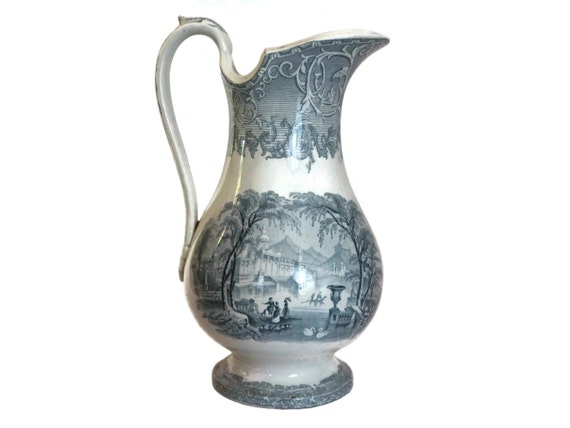 Podmore Walker Pottery Water Pitcher in Venus Pattern, Antique Stoneware English Transferware Jug