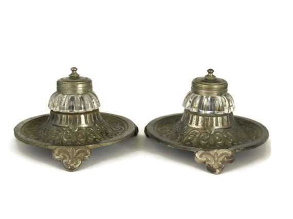 Pair of French Antique Inkwells. Glass and Spelter Double Inkwells. Writing Desk Decor. Calligraphy Supply.
