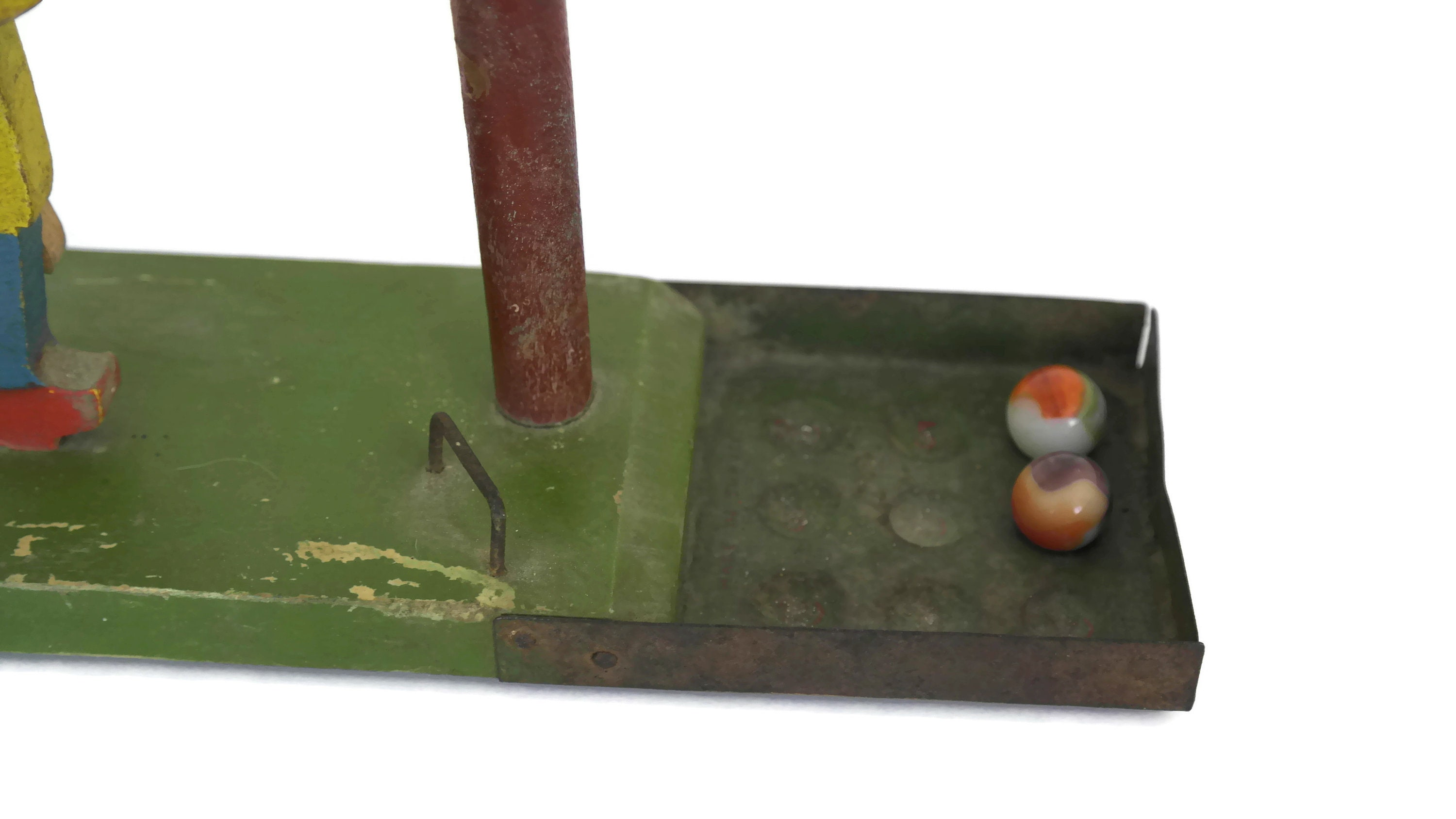 Antique Wooden Marble Run Toy Rustic French Folk Art Game