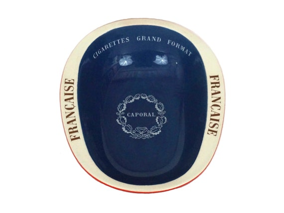 Longchamp Pottery Ashtray with French Advertising for Caporal Cigarettes, Mid Century Ceramic