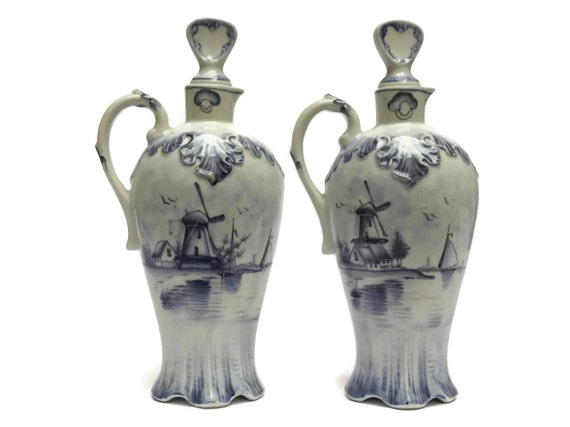Antique German Porcelain Blue Delft Oil & Vinegar Set.