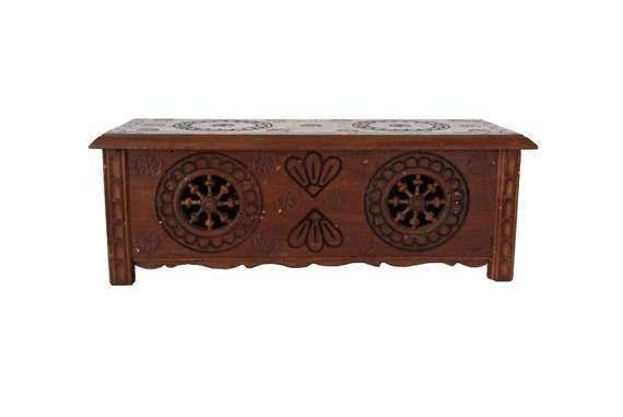 French Breton Doll Furniture Chest, Miniature Carved Wooden Blanket Trunk