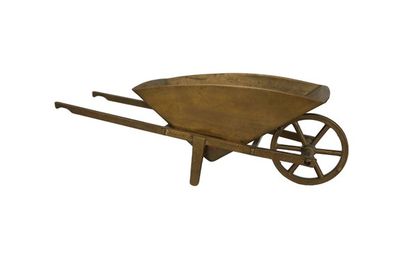 Mid Century Brass Wheelbarrow Planter, Miniature Garden Decor