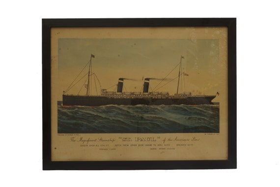 Antique Currier & Ives Lithograph Art Print of The Magnificent Steamship St Paul, Transatlantic Ocean Liner and Nautical Decor