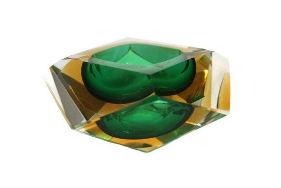 Mid Century Murano Glass Prism Ashtray, Flavio Poli Faceted Sommerso Coin Dish