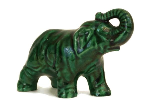 Green Pottery Elephant Figurine