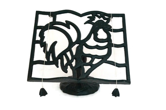 French Recipe Book Display Stand Holder with Rooster, Country Cottage Kitchen Decor