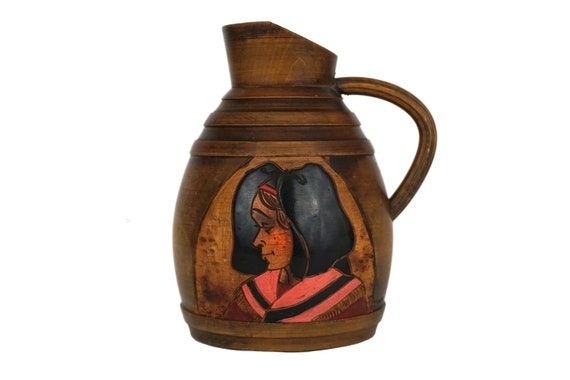 Alsace Souvenir Wooden Pitcher with Lady Portrait, Rustic French Milk Jug