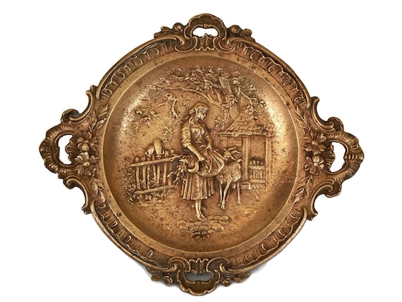 French Antique Bronze Coin Dish with Shepherdess and Goat Figure, Farm Decor and Gifts, Ring Dish and Jewelry Tray