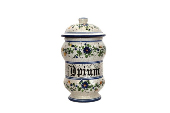 Opium Apothecary Jar, Large Hand Painted French Pottery Pharmacy Bottle