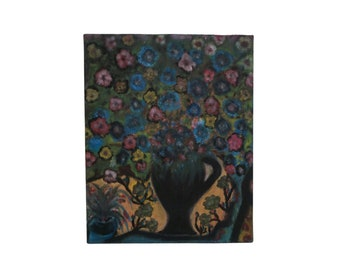 Modernist Vase of Flowers Still Life Painting, French Floral Bouquet Art