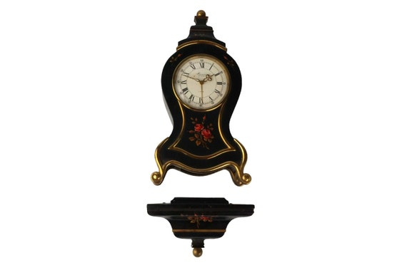 Swiss Wooden Clock and Shelf with Alarm, Switzerland Hand Painted Tole Wood