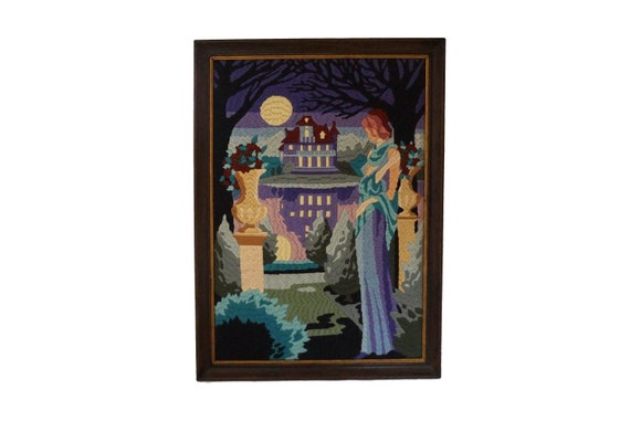 Wall Hanging French Tapestry with Lady in Chateau Garden, Vintage Fibre Art Halloween Home Decor