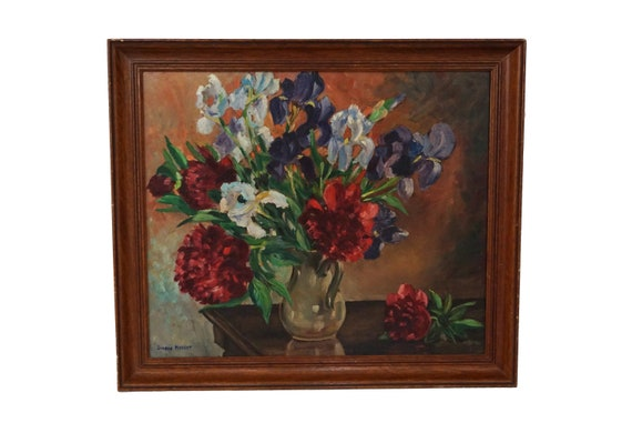 Iris and Camelia Flowers in Vase Painting, Signed French Floral Bouquet Still Life Art