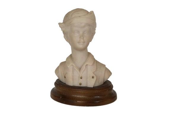 Boy Portrait Bust Statuette, Vintage Child Head Figurine