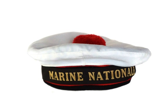 Vintage French Warship Sailor Beret, National Navy Hat with Red Pompom, Nautical Decor