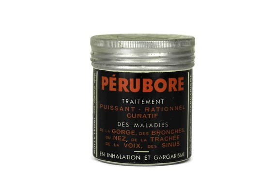 French Vintage Medicine Pill Box. Perubore Lithograph Medical Tin Box. Cylindrique Metal Drug Box. French Pharmacy. Curiosity Cabinet.
