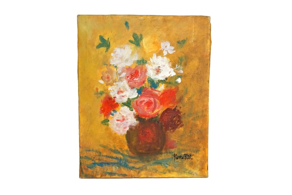 Vase of Roses Still Life Painting, Mid Century French Floral Bouquet Art Signed Pierre Piot.