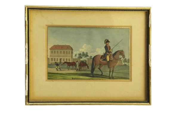 Antique Military Equestrian Art Painting, Soldier on Horseback Portrait Gouache on Paper
