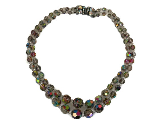 Vintage Aurora Borealis Crystal Beaded Necklace, Double Strand Beads, Retro 1950's Jewelry
