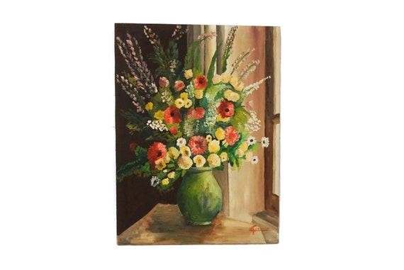 Vintage French Flowers in  Vase Still Life Painting, Floral Bouquet Art