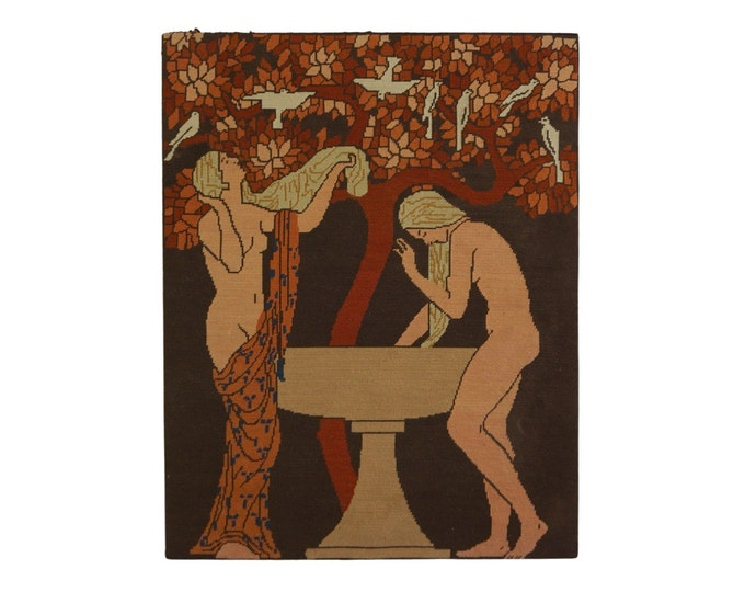 Art Deco Nude Women Tapestry, Vintage French Needlework Wall Hanging