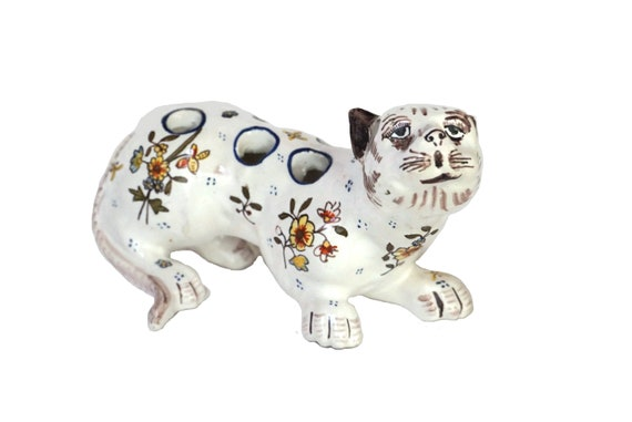 French Faience Cat Figurine Flower Frog, Hand Painted Ceramic Tulip Vase
