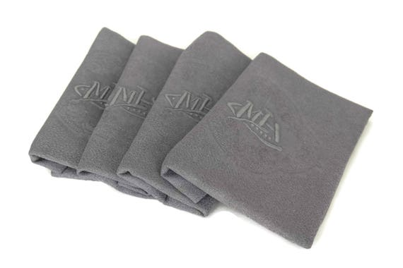 French Lilac Grey Linen Napkins. Antique Monogram Serviettes. Set of 4 with Embroidered Initials M H.