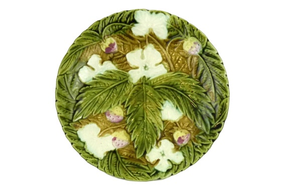 Antique French Majolica Strawberry Plate, Rustic Kitchen Leaf Wall Plate