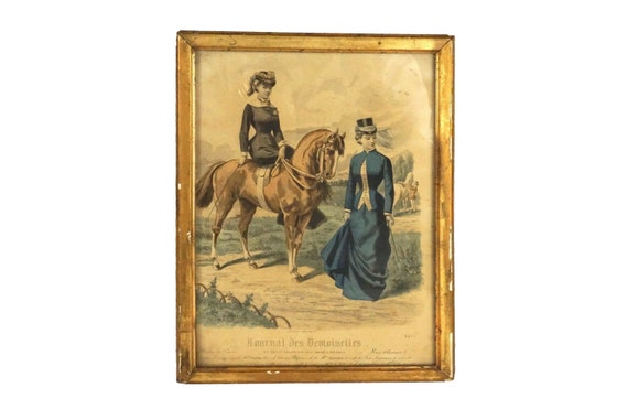 Victorian Fashion Print with Ladies and Horses, French Journal Des Demoiselles Illustration
