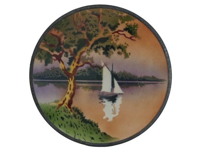 French Porcelain Art Deco Trivet, Antique Sailing Boat Pot Rest