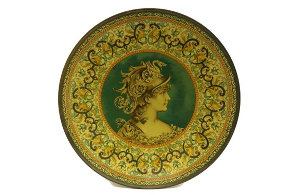 Antique Athena Goddess Portrait Plate, Mythological Art
